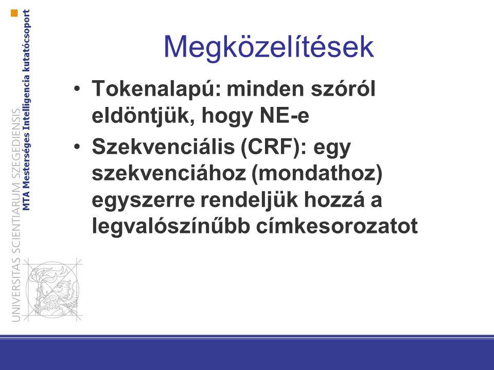 Megközelítések Tokenalapú: minden szóról eldöntjük, hogy NE-e Szekvenciális (CRF): egy szekvenciához (mondathoz) egyszerre rendeljük hozzá a legvalószínűbb címkesorozatot