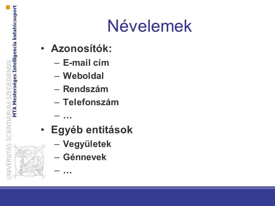 Névelemek Azonosítók: –E-mail cím –Weboldal –Rendszám –Telefonszám –… Egyéb entitások –Vegyületek –Génnevek –…