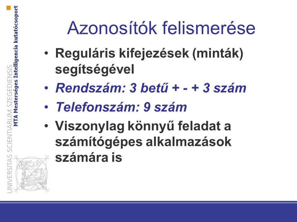 Azonosítók felismerése Reguláris kifejezések (minták) segítségével Rendszám: 3 betű + - + 3 szám Telefonszám: 9 szám Viszonylag könnyű feladat a számítógépes alkalmazások számára is