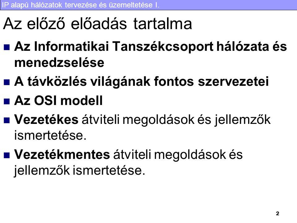 IP alapú hálózatok tervezése és üzemeltetése I. 23 STM1-es keret