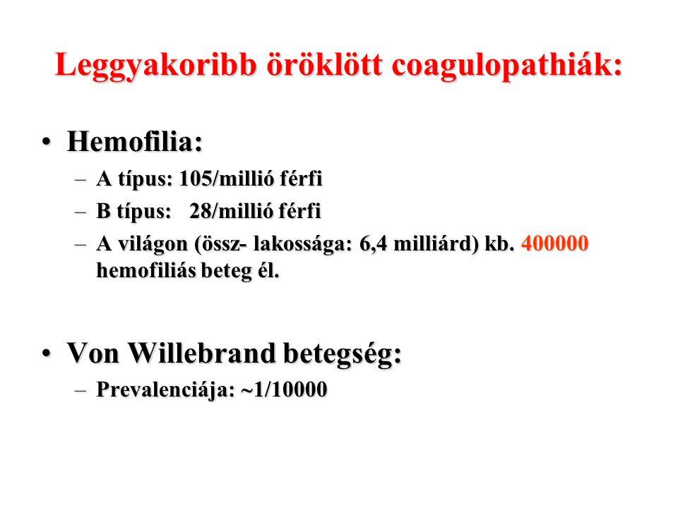 Leggyakoribb öröklött coagulopathiák: Hemofilia:Hemofilia: –A típus: 105/millió férfi –B típus: 28/millió férfi –A világon (össz- lakossága: 6,4 milli