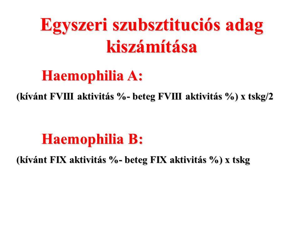 Egyszeri szubsztituciós adag kiszámítása Haemophilia A: (kívánt FVIII aktivitás %- beteg FVIII aktivitás %) x tskg/2 Haemophilia B: (kívánt FIX aktivi