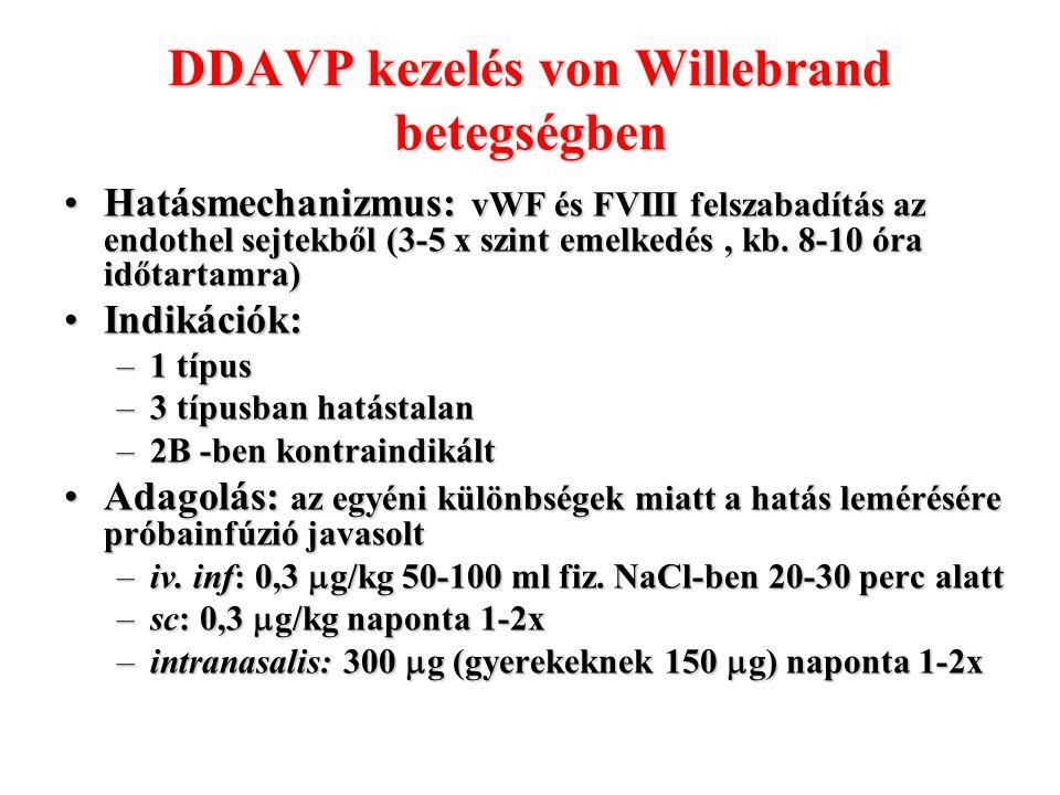 DDAVP kezelés von Willebrand betegségben Hatásmechanizmus: vWF és FVIII felszabadítás az endothel sejtekből (3-5 x szint emelkedés, kb. 8-10 óra időta