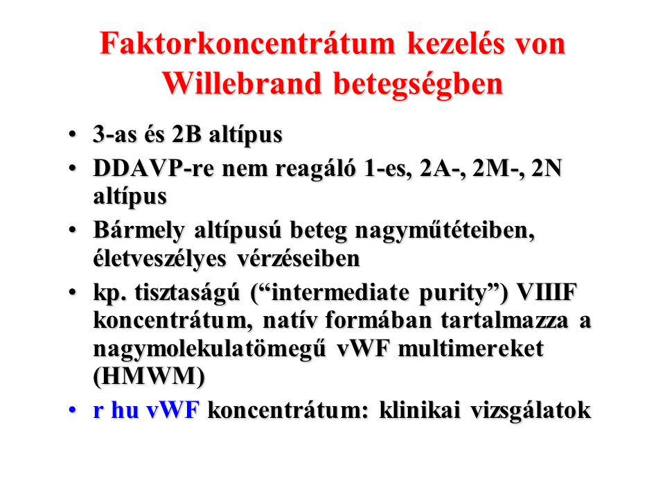 Faktorkoncentrátum kezelés von Willebrand betegségben 3-as és 2B altípus3-as és 2B altípus DDAVP-re nem reagáló 1-es, 2A-, 2M-, 2N altípusDDAVP-re nem