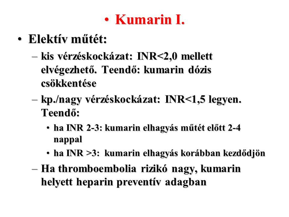 Kumarin I.Kumarin I. Elektív műtét:Elektív műtét: –kis vérzéskockázat: INR<2,0 mellett elvégezhető. Teendő: kumarin dózis csökkentése –kp./nagy vérzés