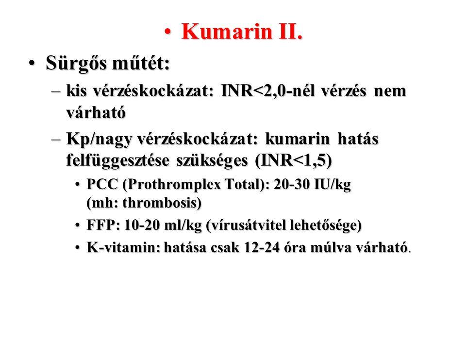 Kumarin II.Kumarin II. Sürgős műtét:Sürgős műtét: –kis vérzéskockázat: INR<2,0-nél vérzés nem várható –Kp/nagy vérzéskockázat: kumarin hatás felfügges