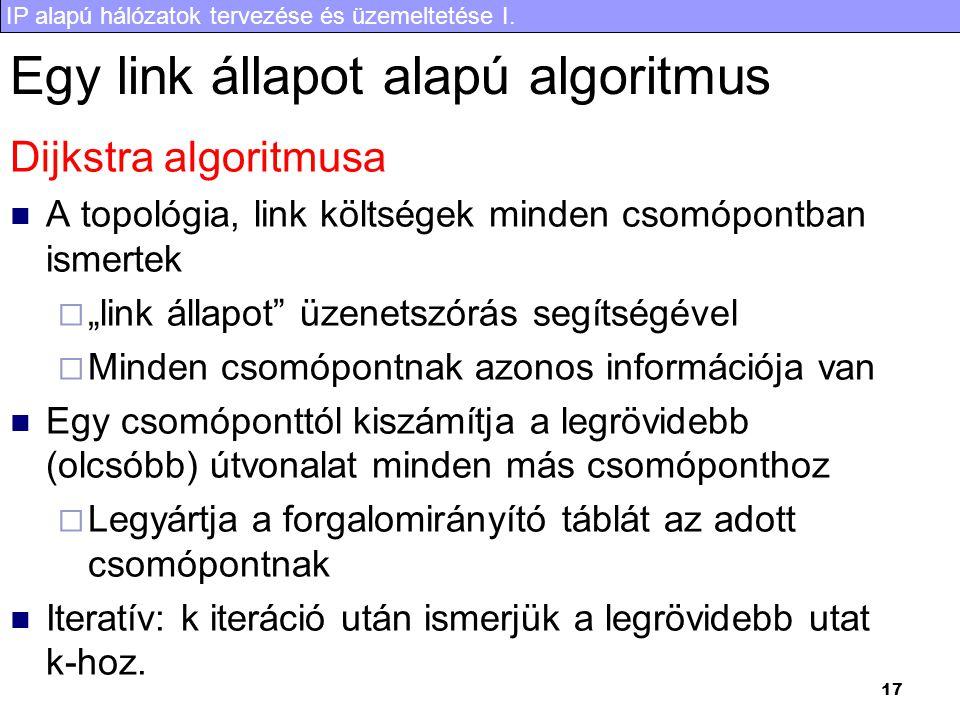 IP alapú hálózatok tervezése és üzemeltetése I. 17 Egy link állapot alapú algoritmus Dijkstra algoritmusa A topológia, link költségek minden csomópont