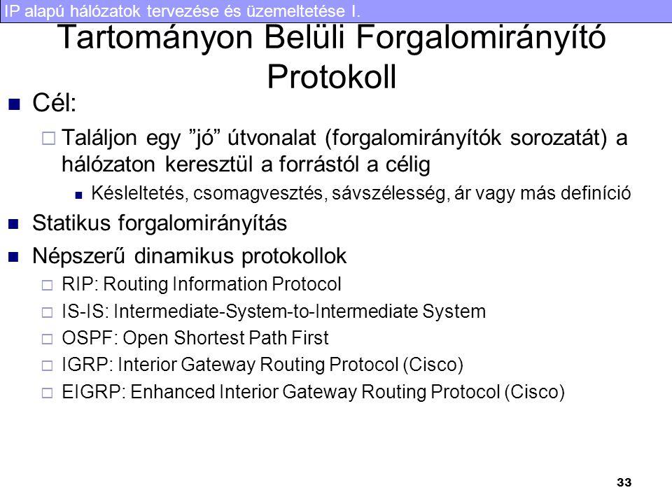 """IP alapú hálózatok tervezése és üzemeltetése I. 33 Tartományon Belüli Forgalomirányító Protokoll Cél:  Találjon egy """"jó"""" útvonalat (forgalomirányítók"""