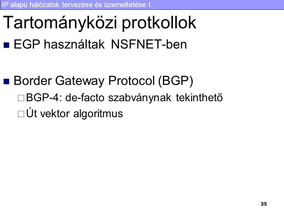 IP alapú hálózatok tervezése és üzemeltetése I. 35 Tartományközi protkollok EGP használtak NSFNET-ben Border Gateway Protocol (BGP)  BGP-4: de-facto