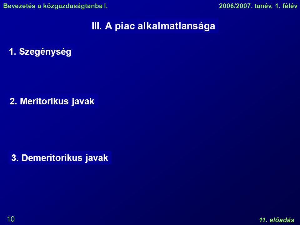 Bevezetés a közgazdaságtanba I.2006/2007. tanév, 1. félév 11. előadás 10 III. A piac alkalmatlansága 1. Szegénység 2. Meritorikus javak 3. Demeritorik