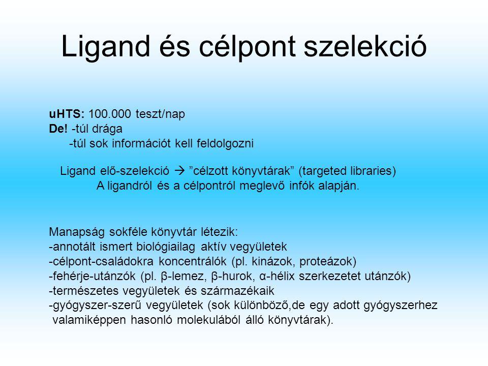 """Ligand és célpont szelekció uHTS: 100.000 teszt/nap De! -túl drága -túl sok információt kell feldolgozni Ligand elő-szelekció  """"célzott könyvtárak"""" ("""
