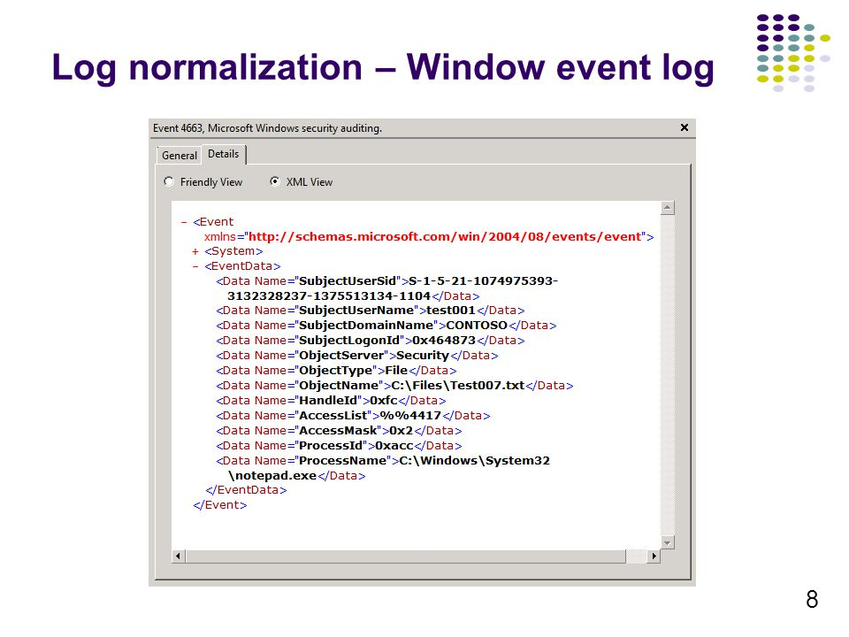 8 Log normalization – Window event log