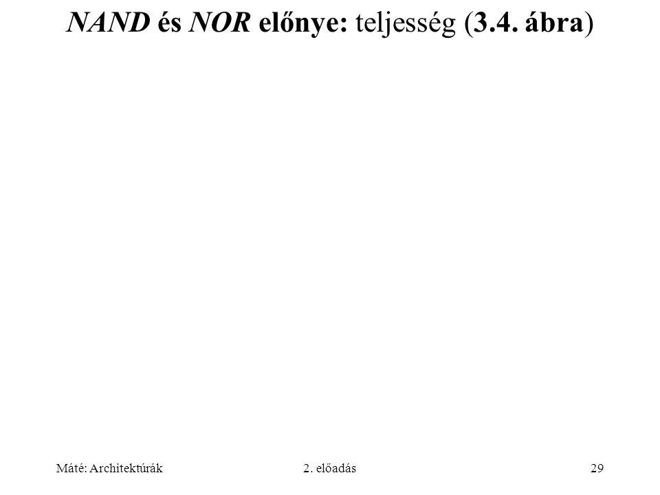 Máté: Architektúrák2. előadás29 NAND és NOR előnye: teljesség (3.4. ábra)