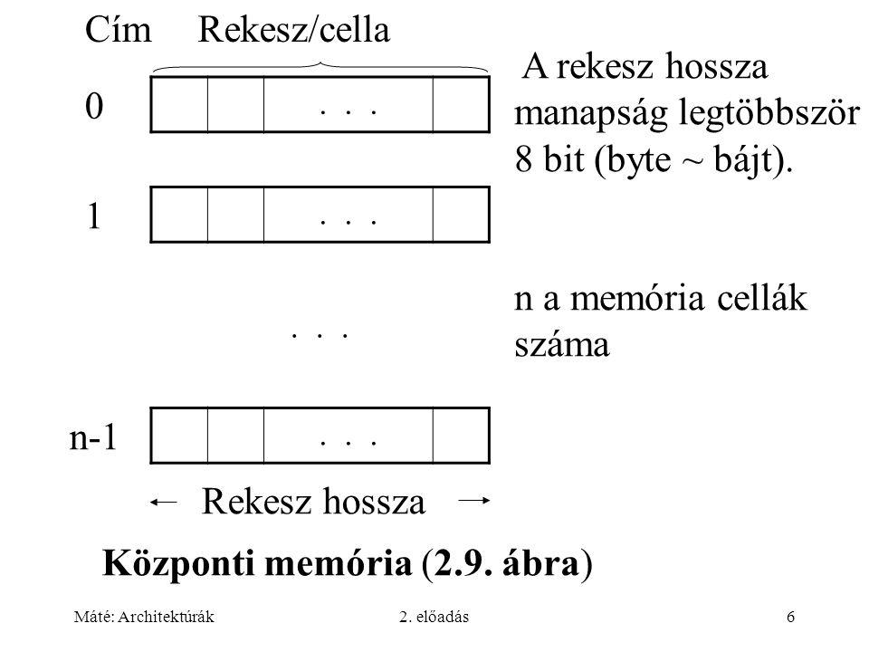Máté: Architektúrák2. előadás6 Központi memória (2.9. ábra) 0... 1 n-1... CímRekesz/cella Rekesz hossza A rekesz hossza manapság legtöbbször 8 bit (by