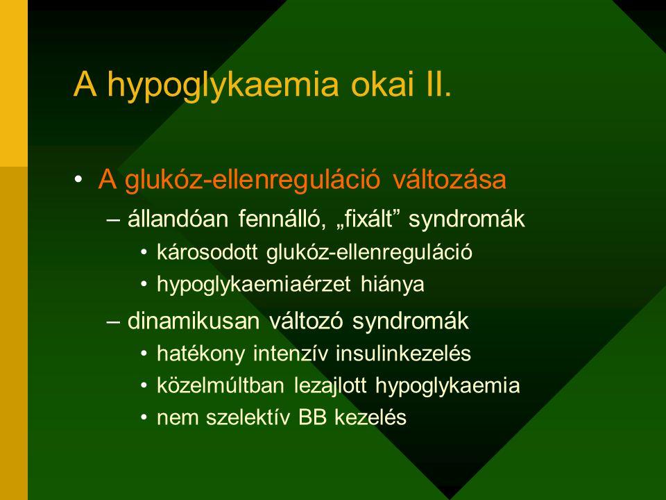 """A hypoglykaemia okai II. A glukóz-ellenreguláció változása –állandóan fennálló, """"fixált"""" syndromák károsodott glukóz-ellenreguláció hypoglykaemiaérzet"""