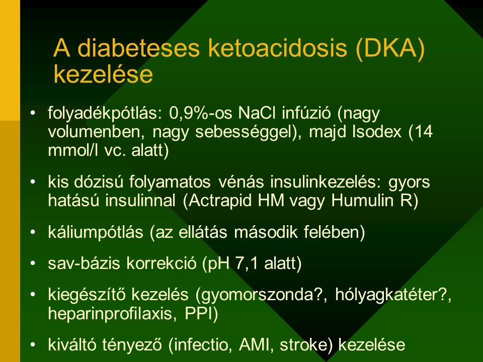 folyadékpótlás: 0,9%-os NaCl infúzió (nagy volumenben, nagy sebességgel), majd Isodex (14 mmol/l vc. alatt) kis dózisú folyamatos vénás insulinkezelés