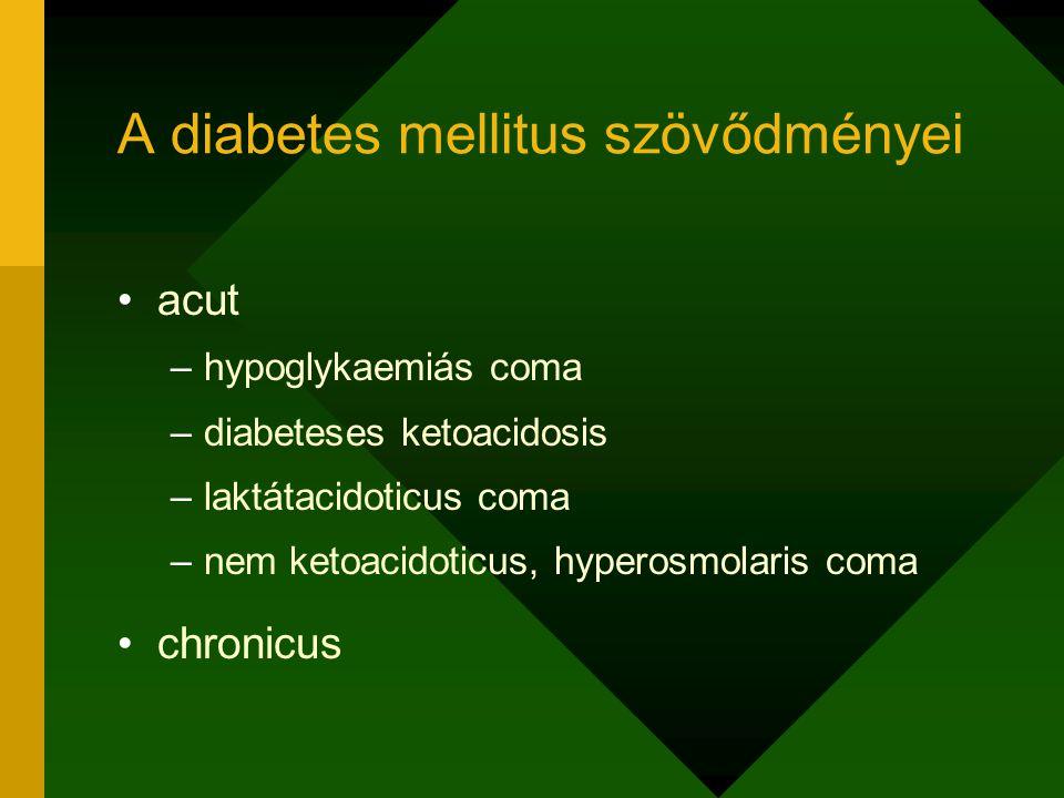 A diabetes mellitus szövődményei acut –hypoglykaemiás coma –diabeteses ketoacidosis –laktátacidoticus coma –nem ketoacidoticus, hyperosmolaris coma ch