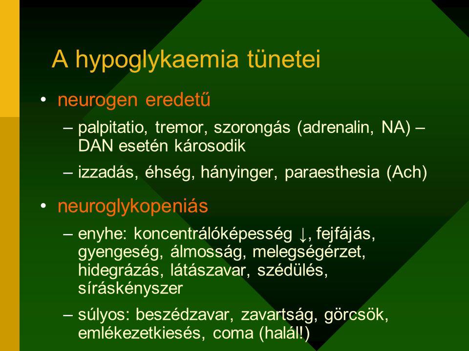 A hypoglykaemia tünetei neurogen eredetű –palpitatio, tremor, szorongás (adrenalin, NA) – DAN esetén károsodik –izzadás, éhség, hányinger, paraesthesi