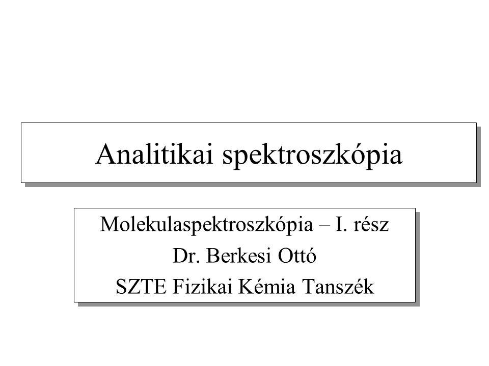 Analitikai spektroszkópia Molekulaspektroszkópia – I. rész Dr. Berkesi Ottó SZTE Fizikai Kémia Tanszék Molekulaspektroszkópia – I. rész Dr. Berkesi Ot