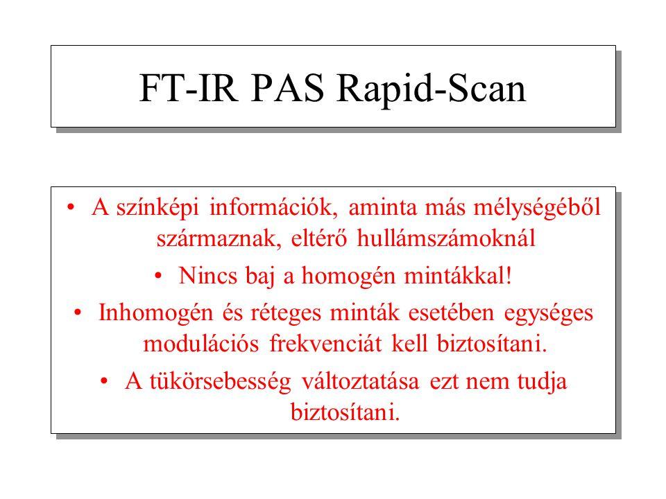 FT-IR PAS Rapid-Scan A színképi információk, aminta más mélységéből származnak, eltérő hullámszámoknál Nincs baj a homogén mintákkal! Inhomogén és rét