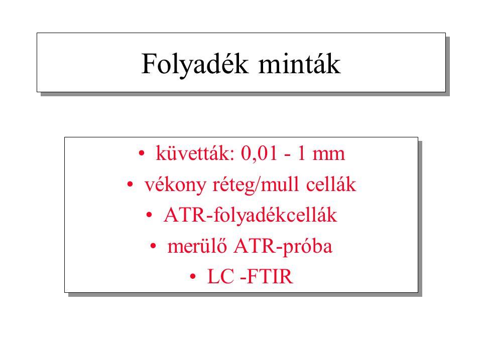 Folyadék minták küvetták: 0,01 - 1 mm vékony réteg/mull cellák ATR-folyadékcellák merülő ATR-próba LC -FTIR küvetták: 0,01 - 1 mm vékony réteg/mull ce