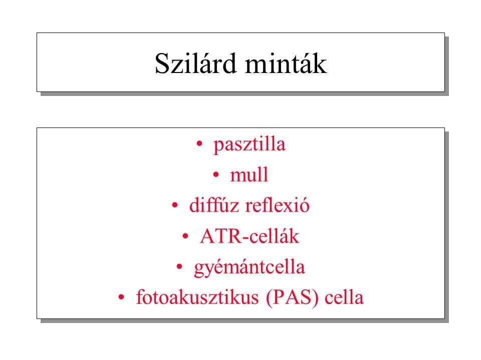 Szilárd minták pasztilla mull diffúz reflexió ATR-cellák gyémántcella fotoakusztikus (PAS) cella pasztilla mull diffúz reflexió ATR-cellák gyémántcell