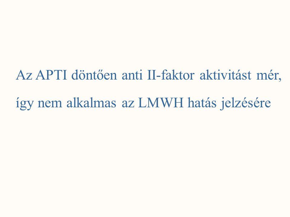 Az APTI döntően anti II-faktor aktivitást mér, így nem alkalmas az LMWH hatás jelzésére