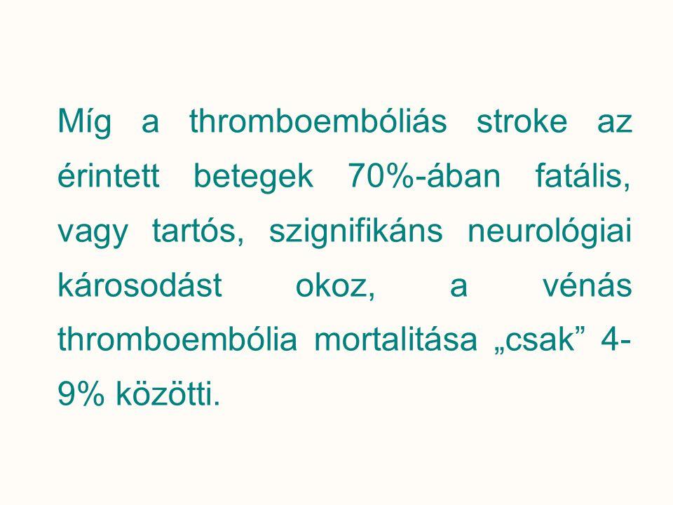 Míg a thromboembóliás stroke az érintett betegek 70%-ában fatális, vagy tartós, szignifikáns neurológiai károsodást okoz, a vénás thromboembólia morta