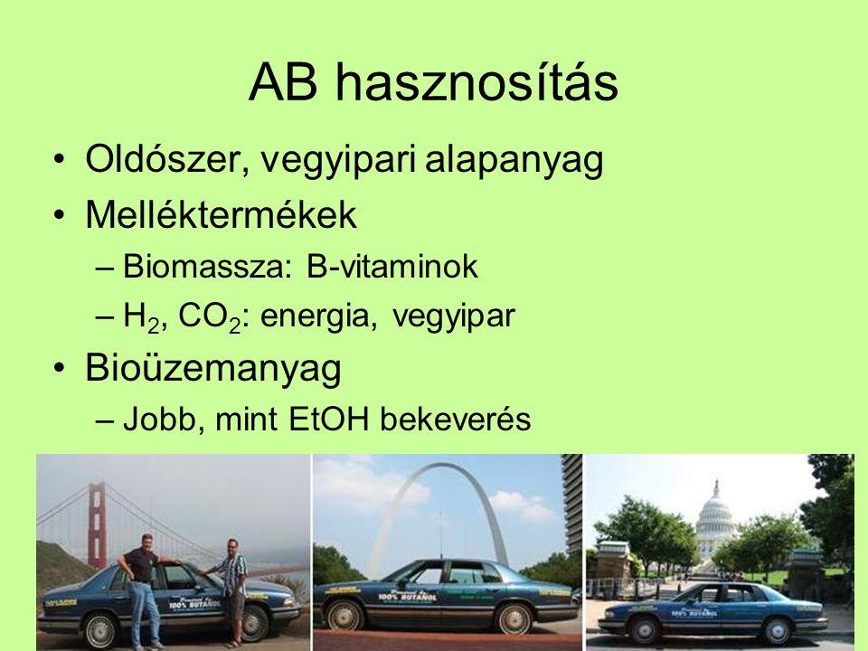 AB hasznosítás Oldószer, vegyipari alapanyag Melléktermékek –Biomassza: B-vitaminok –H 2, CO 2 : energia, vegyipar Bioüzemanyag –Jobb, mint EtOH bekev