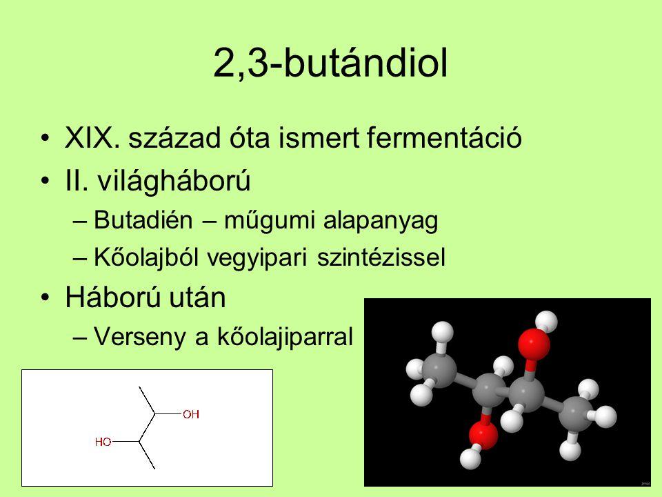 2,3-butándiol XIX. század óta ismert fermentáció II. világháború –Butadién – műgumi alapanyag –Kőolajból vegyipari szintézissel Háború után –Verseny a