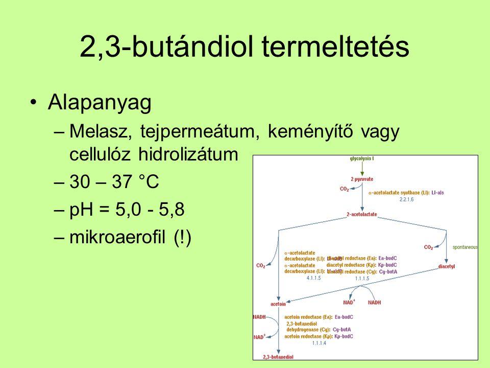 2,3-butándiol termeltetés Kinyerés –Oldószeres extrakció nehézkes, drága –Vákuum desztilláció (Fp = 180 °C) drága, sok veszteség –Vízelvonással: metil-etil-keton (Fp = 80 °C) műgumi alapanyag