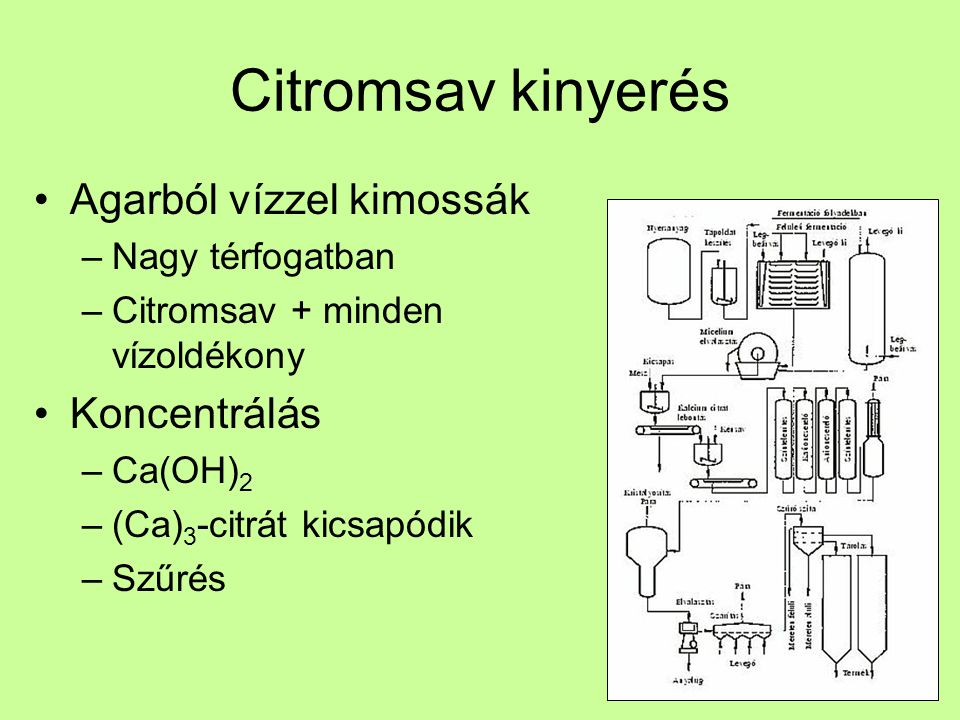 Citromsav kinyerés (Ca) 3 -citrát oldás –H 2 SO 4 – erős sav –Citromsav + CaSO 4 Ioncserélő kromatográfia Kristályosítás