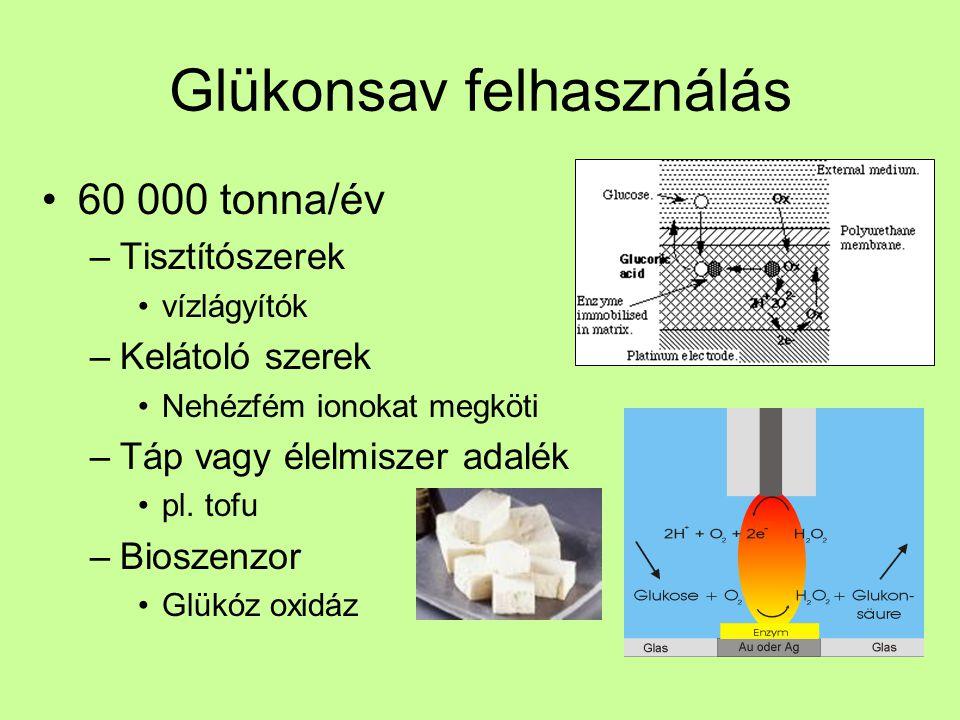 Glükonsav felhasználás 60 000 tonna/év –Tisztítószerek vízlágyítók –Kelátoló szerek Nehézfém ionokat megköti –Táp vagy élelmiszer adalék pl. tofu –Bio