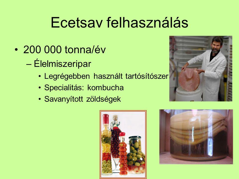 Ecetsav felhasználás Élelmiszeripar Legrégebben használt tartósítószer Specialitás: rizsecet