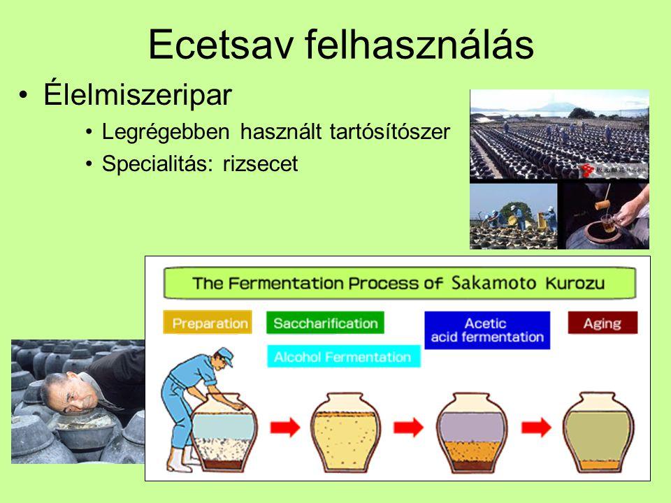 Ecetsav felhasználás Vegyipar Ca-Mg-acetát = zöld só -15 °C-ig használható Talajbaktériumok lebontják Nem korrodeál