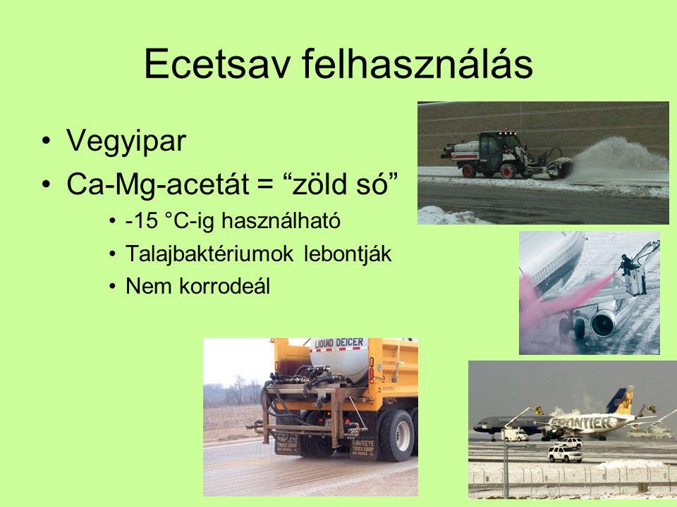 """Ecetsav felhasználás Vegyipar Ca-Mg-acetát = """"zöld só"""" -15 °C-ig használható Talajbaktériumok lebontják Nem korrodeál"""