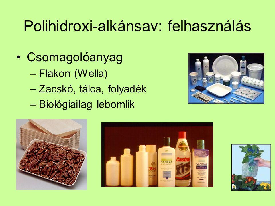 Polihidroxi-alkánsav: felhasználás Csomagolóanyag –Flakon (Wella) –Zacskó, tálca, folyadék –Biológiailag lebomlik