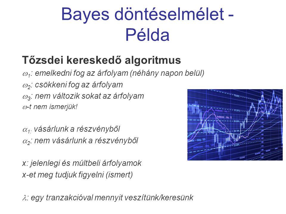 Bayes döntéselmélet - Példa Tőzsdei kereskedő algoritmus  1 : emelkedni fog az árfolyam (néhány napon belül)  2 : csökkeni fog az árfolyam  3 : nem változik sokat az árfolyam  -t nem ismerjük.