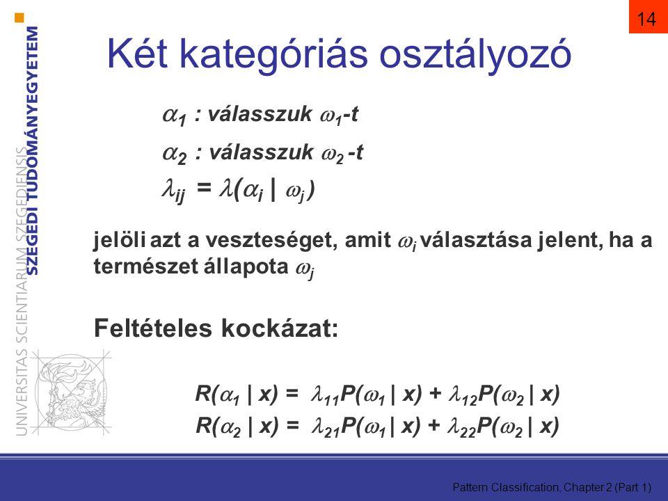 Pattern Classification, Chapter 2 (Part 1) 14  1 : válasszuk  1 -t  2 : válasszuk  2 -t ij = (  i |  j ) jelöli azt a veszteséget, amit  i választása jelent, ha a természet állapota  j Feltételes kockázat: R(  1 | x) =  11 P(  1 | x) + 12 P(  2 | x) R(  2 | x) =  21 P(  1 | x) + 22 P(  2 | x) Két kategóriás osztályozó