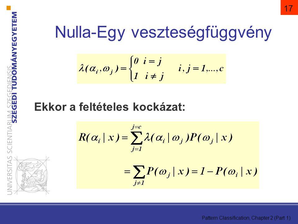 Pattern Classification, Chapter 2 (Part 1) 17 Ekkor a feltételes kockázat: Nulla-Egy veszteségfüggvény
