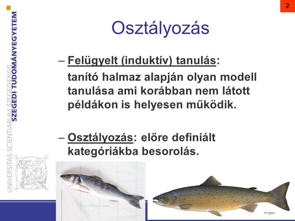 2 –Felügyelt (induktív) tanulás: tanító halmaz alapján olyan modell tanulása ami korábban nem látott példákon is helyesen működik.