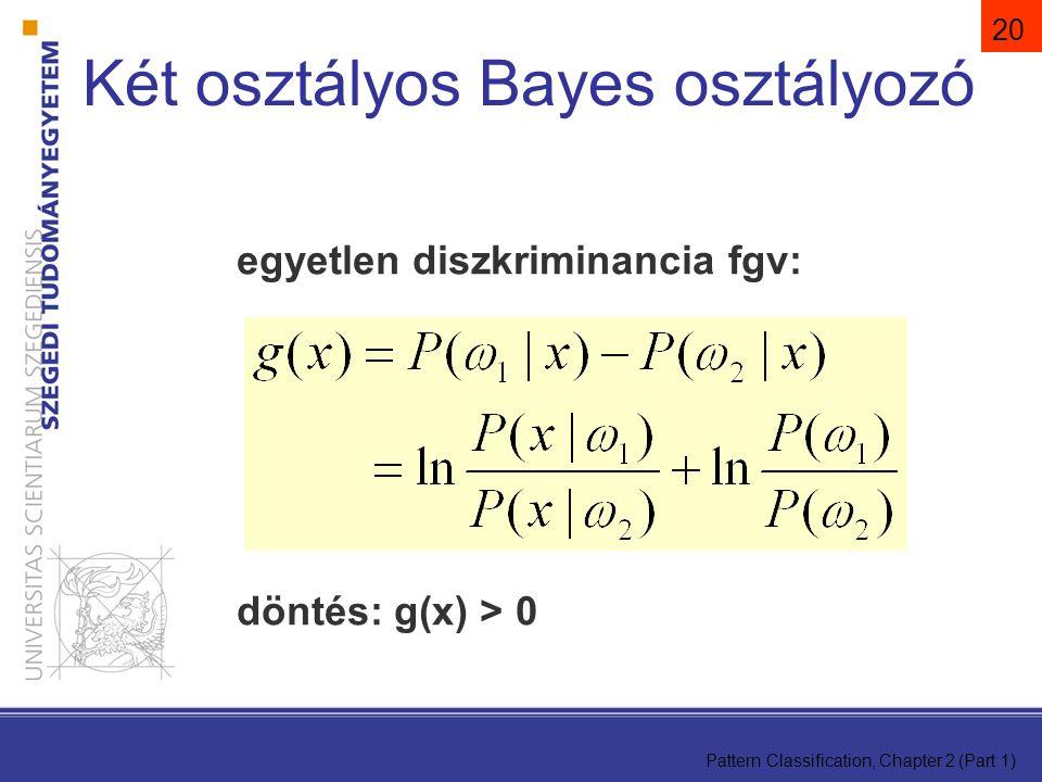 Pattern Classification, Chapter 2 (Part 1) 20 egyetlen diszkriminancia fgv: döntés: g(x) > 0 Két osztályos Bayes osztályozó
