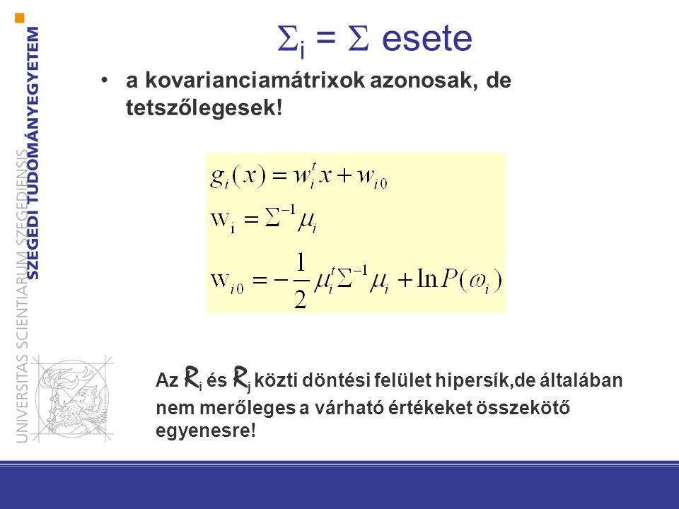  i =  esete a kovarianciamátrixok azonosak, de tetszőlegesek.