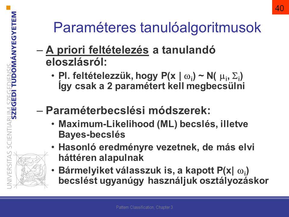 –A priori feltételezés a tanulandó eloszlásról: Pl.