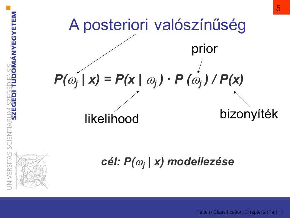 Pattern Classification, Chapter 2 (Part 1) 5 P(  j | x) = P(x |  j ) · P (  j ) / P(x) cél: P(  j | x) modellezése A posteriori valószínűség bizonyíték prior likelihood
