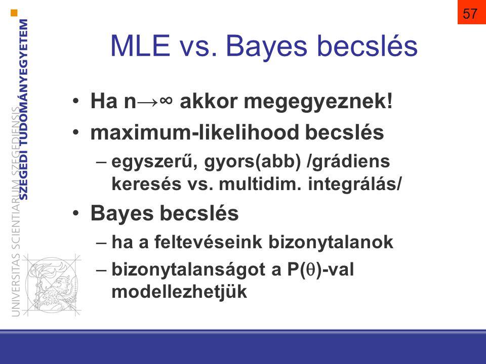 MLE vs.Bayes becslés Ha n→∞ akkor megegyeznek.