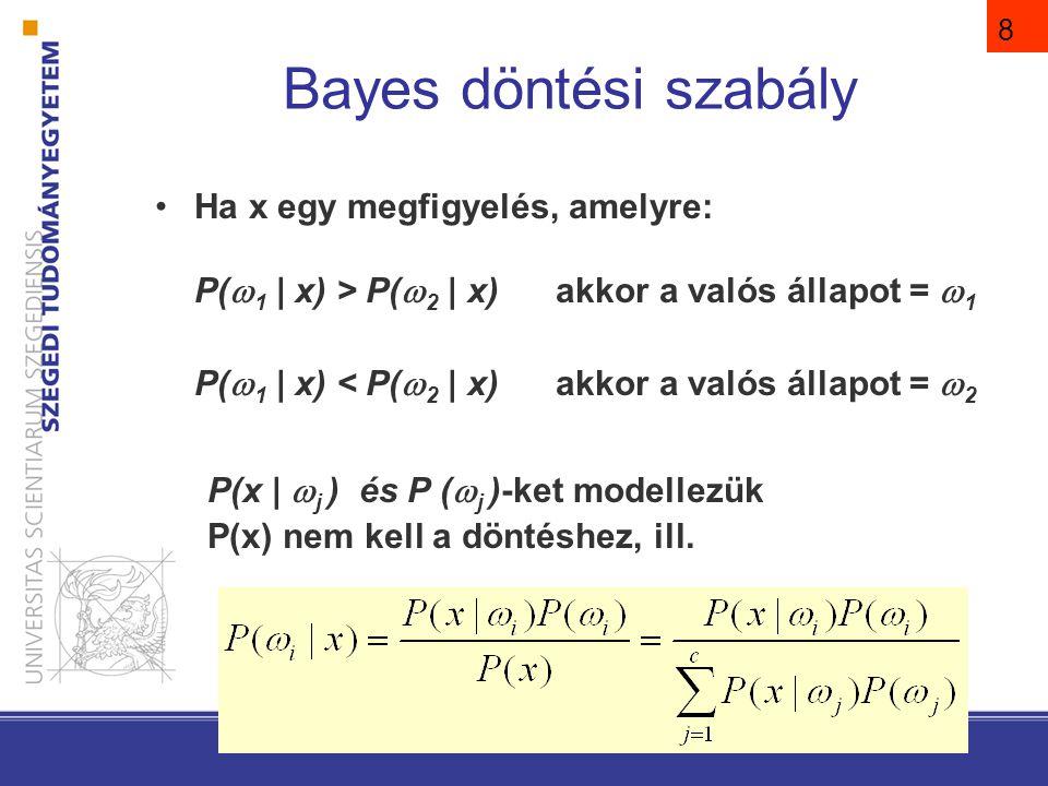 8 Ha x egy megfigyelés, amelyre: P(  1 | x) > P(  2 | x) akkor a valós állapot =  1 P(  1 | x) < P(  2 | x) akkor a valós állapot =  2 P(x |  j ) és P (  j )-ket modellezük P(x) nem kell a döntéshez, ill.