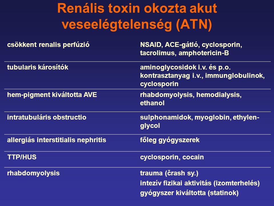 Renális toxin okozta akut veseelégtelenség (ATN) csökkent renalis perfúzióNSAID, ACE-gátló, cyclosporin, tacrolimus, amphotericin-B tubularis károsítókaminoglycosidok i.v.
