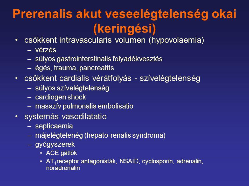 Prerenalis akut veseelégtelenség okai (keringési) csökkent intravascularis volumen (hypovolaemia) –vérzés –súlyos gastrointerstinalis folyadékvesztés –égés, trauma, pancreatits csökkent cardialis vérátfolyás - szívelégtelenség –súlyos szívelégtelenség –cardiogen shock –masszív pulmonalis embolisatio systemás vasodilatatio –septicaemia –májelégtelenég (hepato-renalis syndroma) –gyógyszerek ACE gátlók AT 1 receptor antagonisták, NSAID, cyclosporin, adrenalin, noradrenalin