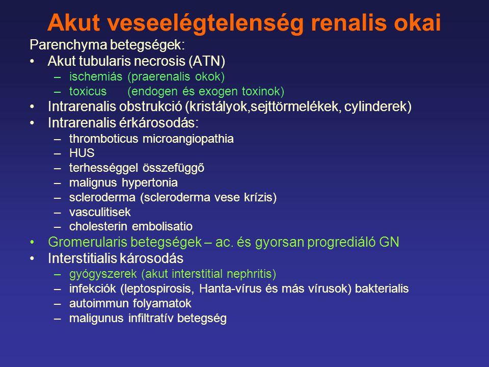 Akut haemodyalysis indikációja uraemiás tünetek gyors megjelenése –neurologiai –laboratóriumi (se.
